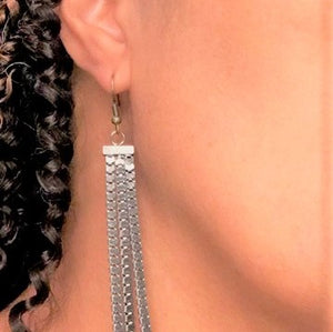 Long Smoked Gray Square Chain Links,Three Strand Hanging Earrings