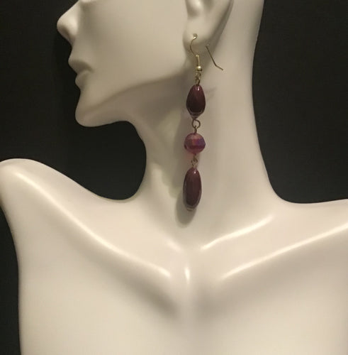 Burgundy Three Layered Beaded Earrings, Long Burgundy Earrings, Red Wine Earrings