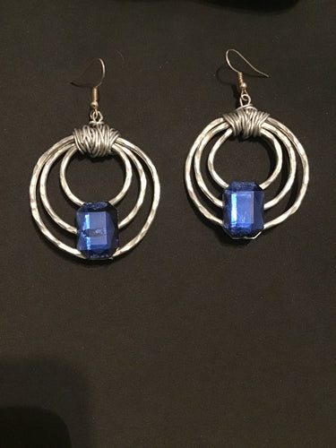 Silver and Blue Hoop, Sapphire Birthstone Blue and Silver Hoops, Square Blue Birthday Earrings, Layered Silver Hoops