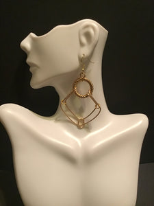 Gold Diamond Shape Double Wire Hoops, Double Diamond Gold Dangles, Hanging Gold Earrings