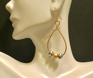 Gold and Silver Beaded Teardrop Shape Hoops, Gold Wire Hoops