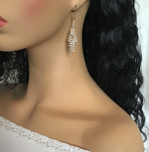 Bridal Chandelier Dangles, Diamond Hanging Earrings, Faux Diamonds Chandelier, Wedding Earrings