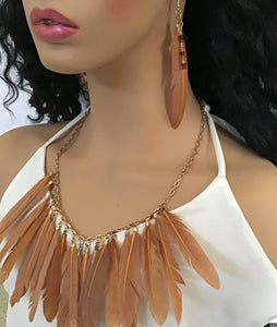 Real Feathers of Gold Color Necklace and Earring Set