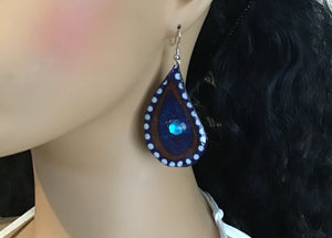 Brown and Blue Paisley Teardrop Fabric Earrings