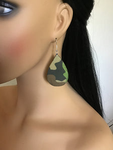 Army Fatigues Earrings, Military Earrings , Camouflage, Teardrop Shape Army Earrings, Militarily Jewelry,Army Jewelry
