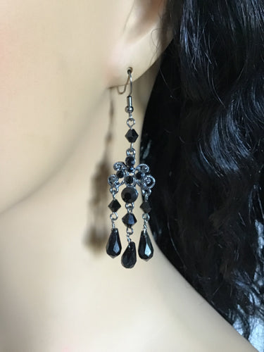 Black Chandelier Dangle Earrings, Black Dress Dining earrings, Party Earrings, Black and Silver Dangles