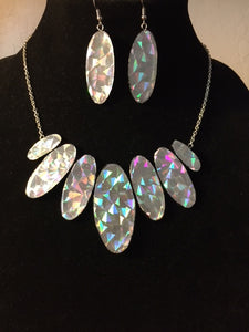 Silver Oval Rainbow Colors Collar Necklace and Earring Set Shining Light Reflectors Earring Set Silver Necklace Set Gift