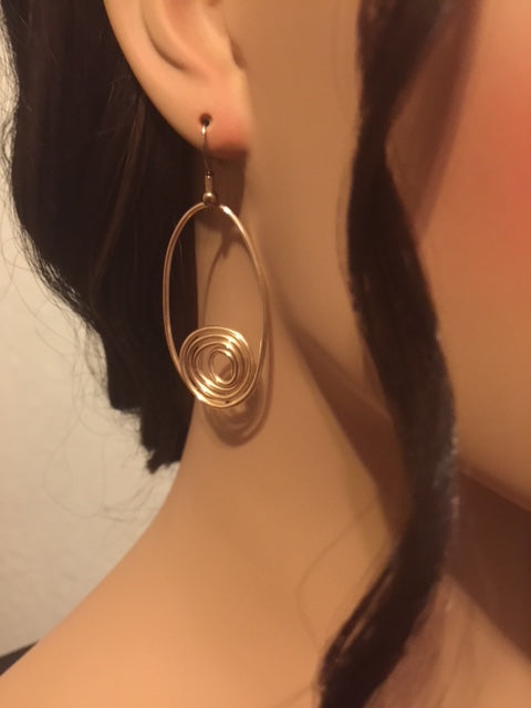 Oval Gold Wire Hoops With Swirl Hanging Hoops Lightweight Gold Oval Earrings Great Gift