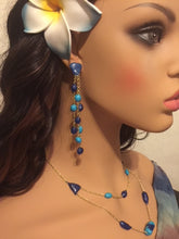 Blue Multi Strand Hanging Beads 4 inch Long Bead Earrings and Necklace Set Layered Earrings and Layered Necklace Summer Colors