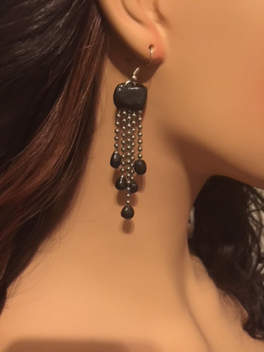 Black 5 Strand Beaded Chandelier Earrings Black and Silver Hanging Earrings Polymer Clay Earrings Great Gift