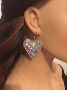 Large Silver Rainbow Heart Sparkling Colorful Hanging Hearts Birthday Gifts Disco Earrings