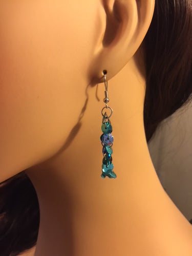 Blue Sequins Earrings, Long Sequins Dangling Earrings, Sparkling Earrings, Wedding, Bridesmaid Earrings, Gift, Teal Blue Earrings,Sapphire