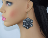 Black Lace Flower Dangle Earrings, Layered Black and Silver Lace, Big Flower Lace Look Earrings, Glittery Silver with Black Lace