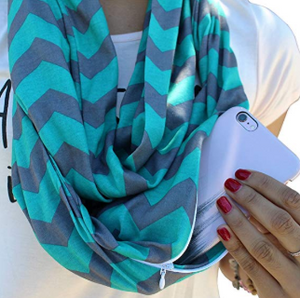 Womens Chevron Print Pattern Infinity Scarf Wrap with Zipper Pocket, Best Travel Infinity Scarves for Women