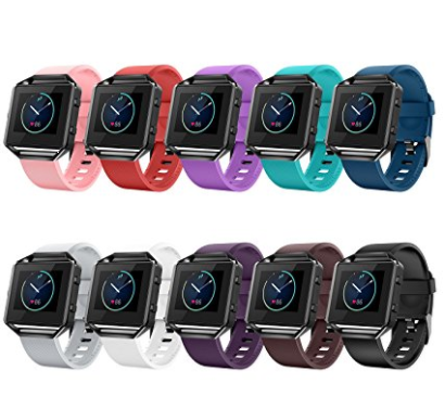 10 pc. Fitbit Blaze Bands with Frame, Special Edition Silicone Replacement Strap for Fitbit Blaze Smart Fitness Watch Sport Accessory Wristbands Small Large for Men Women Classic and Laser Design