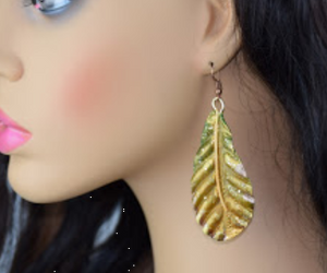 24K Gold and Olive Green Leaves Gold Painted Leaf Earrings Lightweight Leaf Dangles Hanging Leaf Earrings Gold