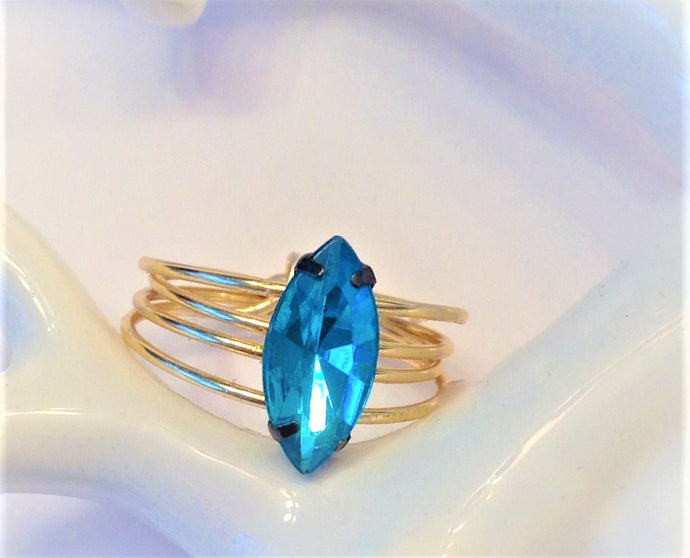 Marquise Cut Teal Ring with Spiral Gold Band