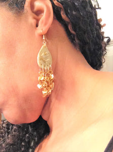 Gold Chandelier Sequins Earrings, Evening Gown Earrings, Gold Glitter Polymer Clay Teardrop ,Gold Sequins Hanging Earrings, Long Dangling