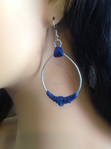 Large Silver and Blue Hoops Wire Earrings Hanging Hoops Twisted Rope Polymer Clay Earrings