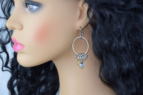 Silver Circle Boho Hoops, Chandelier Beaded Dangles,Clear Beads