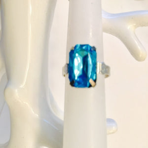 Square Teal Blue Ring