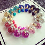 Thick Glass Beads Double Ball Stud Earrings