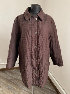 Burberry Womens Quilted Jacket Coat Brown Nova Check Size L