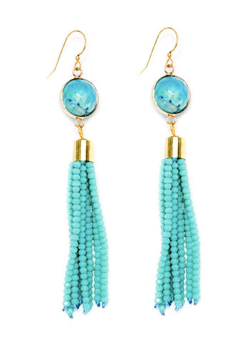 Blue tassel and agate earrings