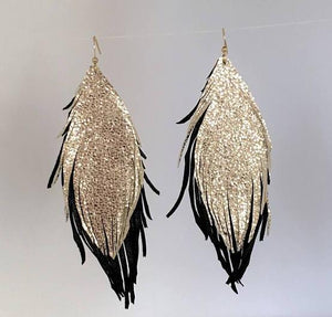 Double Leather Feather Earrings - King George Shop