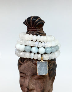 Moonstone & Druzy Agate 4pc Bracelet Set - King George Shop