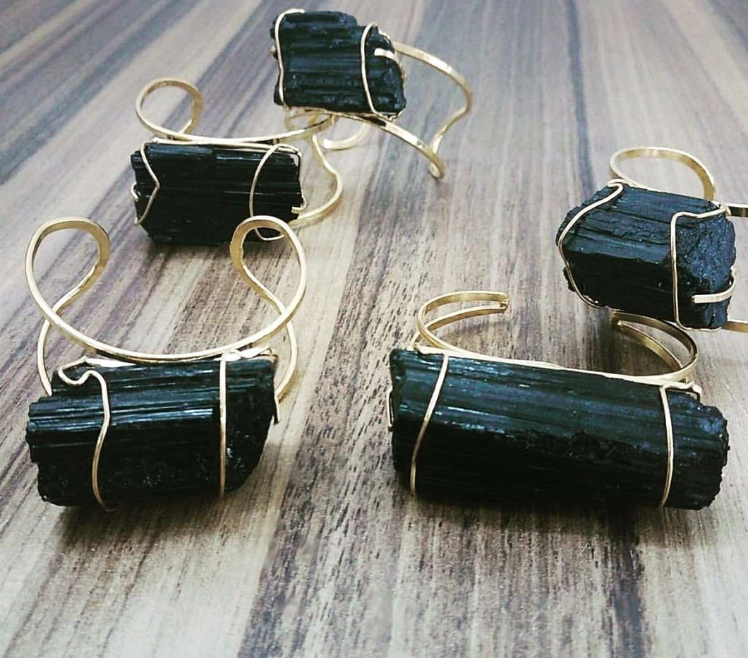 Brilliant, Raw Tourmaline Cuff - King George Shop
