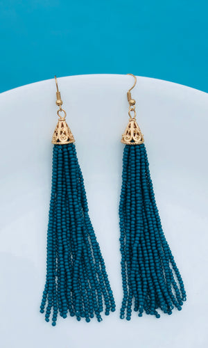Green Beaded Tassel Earrings - King George Shop