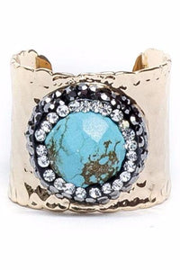 Pave Trimmed Turquoise Gold Cuff Ring - King George Shop