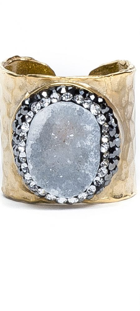 Druzy Gold Cuff Ring - King George Shop