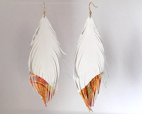 Leather Feather Earrings With Metallic Leaf Tips - King George Shop