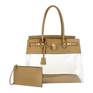 DE-VESI Tropicale 40 Large Translucent Tote (Khaki) - King George Shop