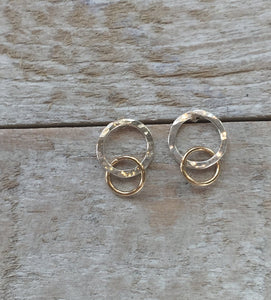 Mixed Metal Double Circle Post Earrings - King George Shop