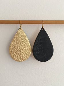 Black and Gold Leather Teardrop Earrings - King George Shop