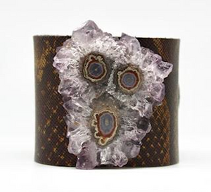 Stalactite On Brown Leather Cuff - King George Shop