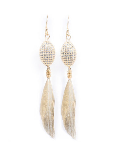 Gold Dipped Feather Earrings - King George Shop