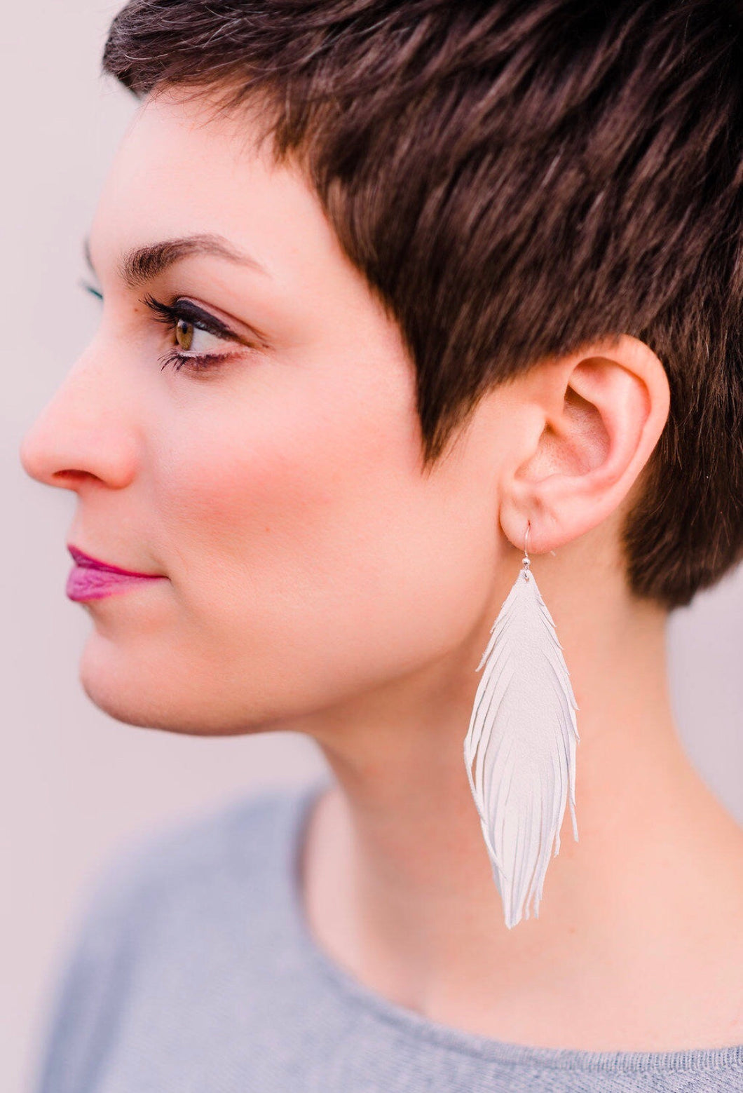 White Lambskin Feather Earrings - King George Shop