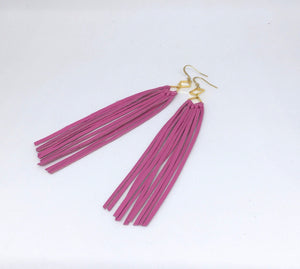 Pink Lambskin Leather Fringe Earrings - King George Shop