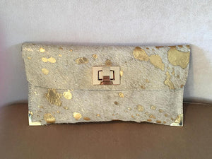 Hair On Hide Metallic Leather Bag/Clutch - King George Shop