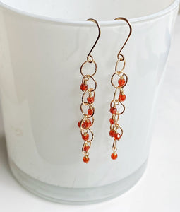 Orange Quartz Circle Earrings - King George Shop