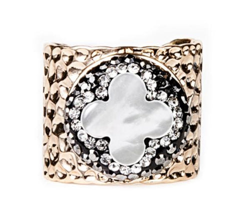 Quatrefoil Mother of Pearl Gold Cuff Ring - King George Shop