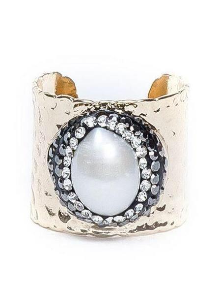 Pave Trimmed Mother of Pearl Gold Cuff Ring - King George Shop