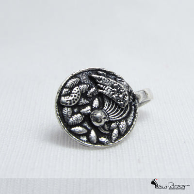 Oxidized Silver Designer Nose Pin - Jewellery