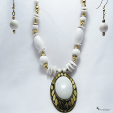 White Beads Work - Earrings And Necklace Set - Jewellery