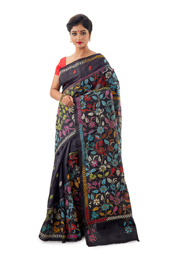 Black Heavy Kantha Work Murshidabad Pure Silk Saree - Saree