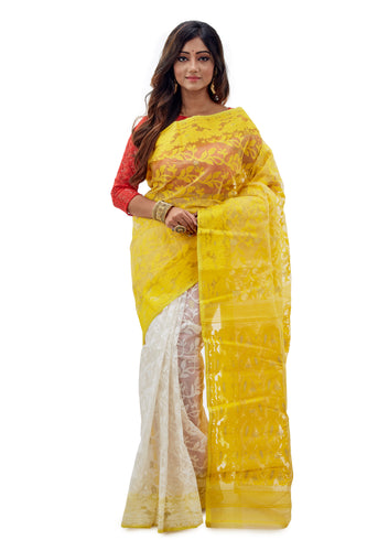 Lemon Yellow & White Traditional Dhakai Jamdani - Saree